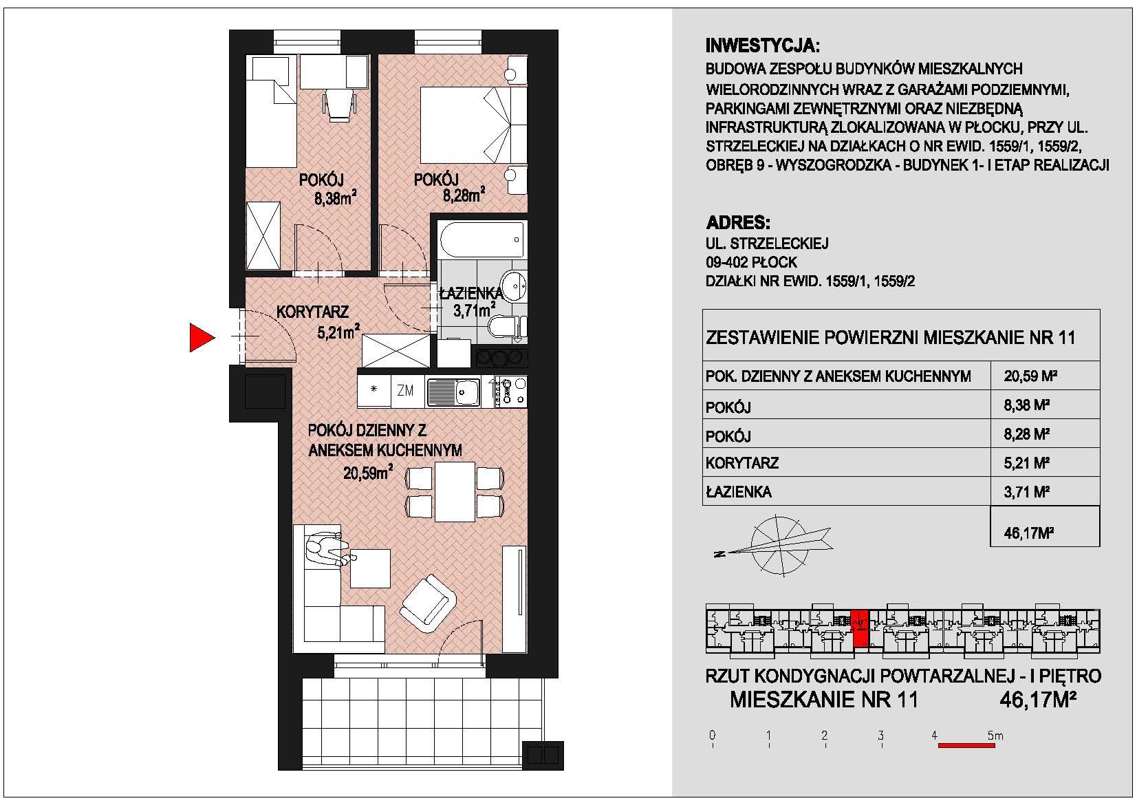 mieszkanie nr 11 PIK Płock