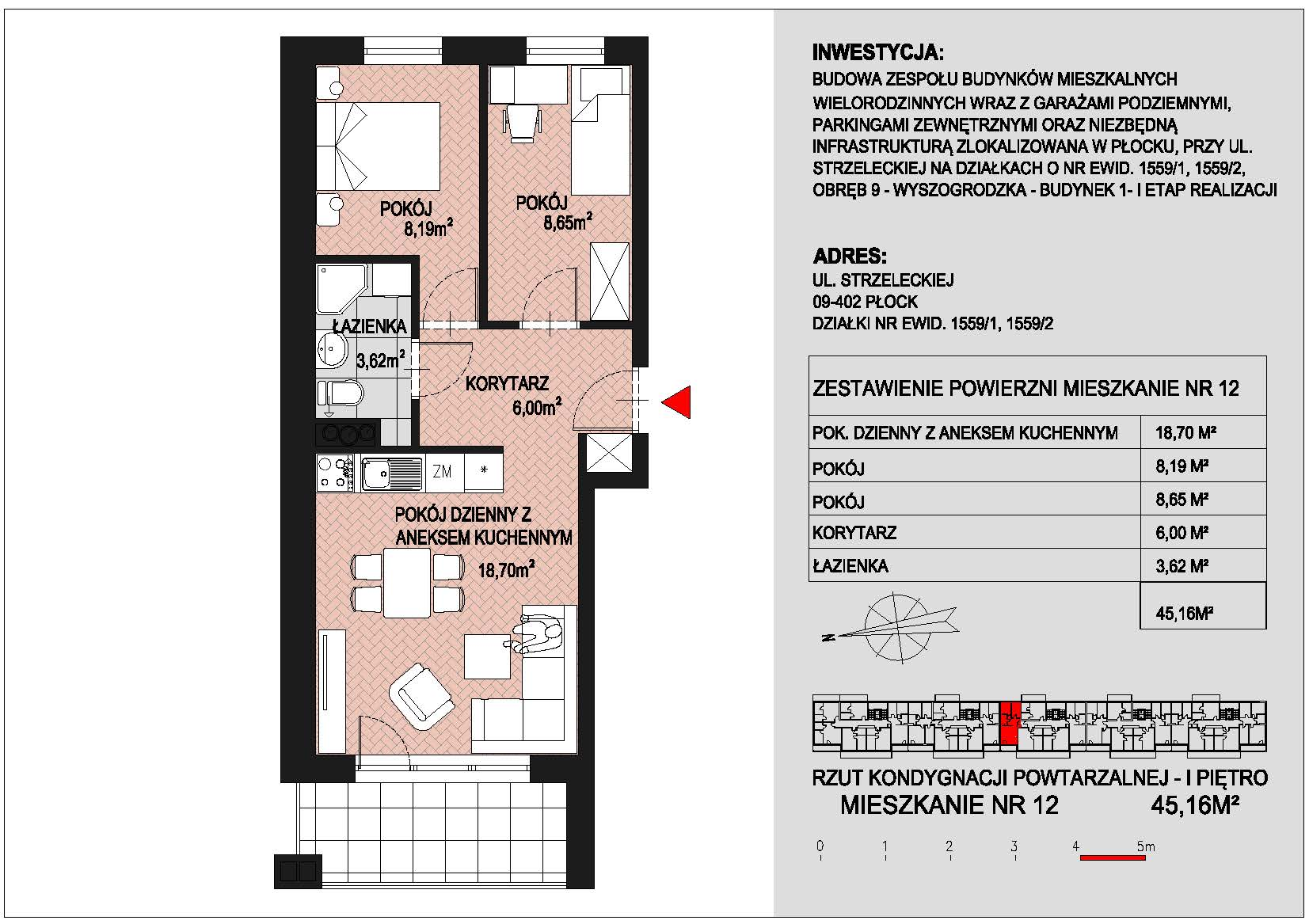 mieszkanie nr 12 PIK Płock