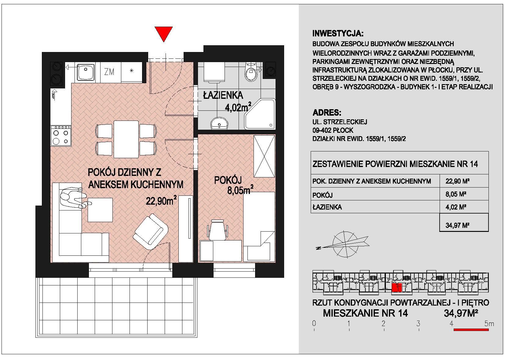mieszkanie nr 14 PIK Płock