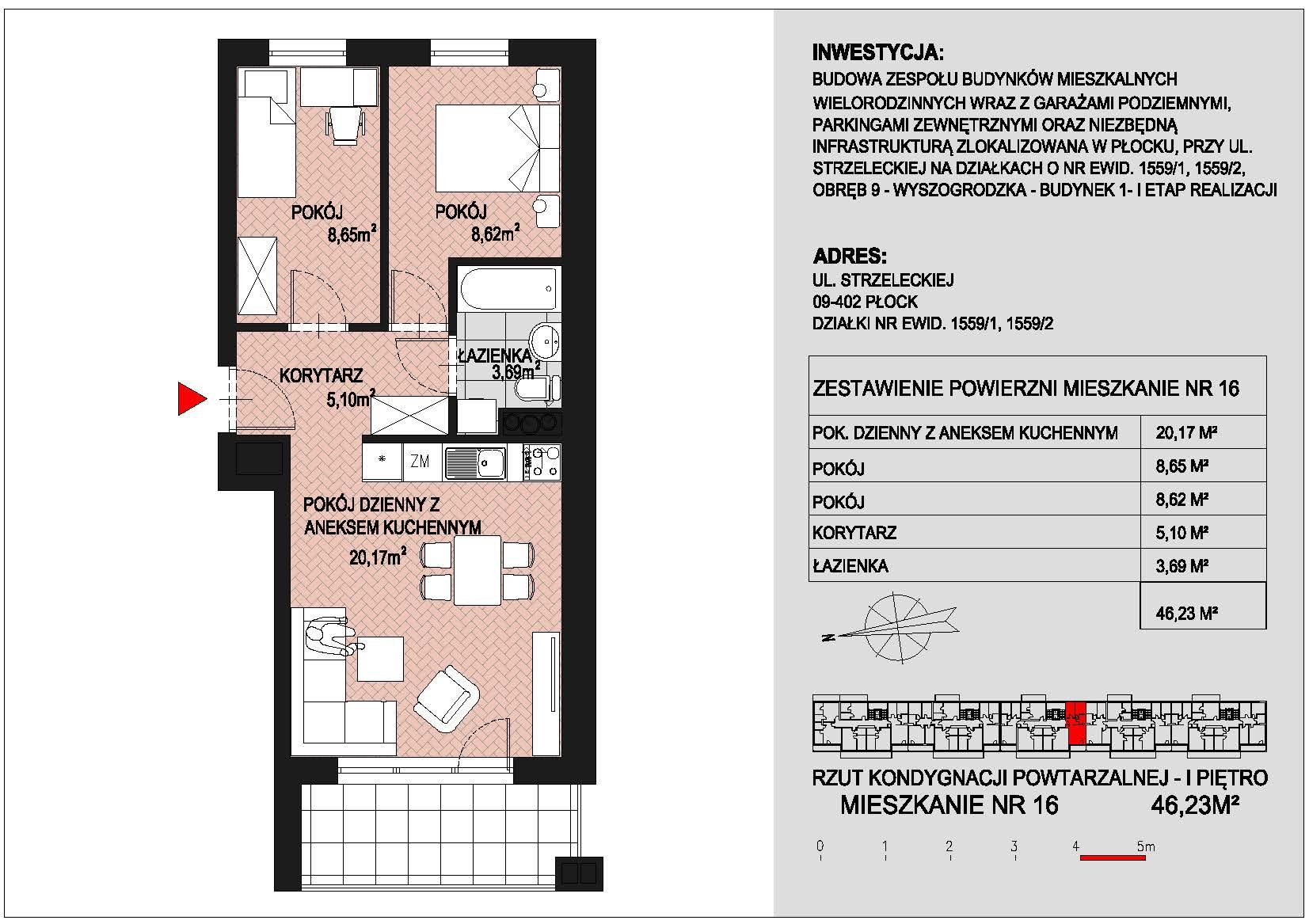 mieszkanie nr 16 PIK Płock