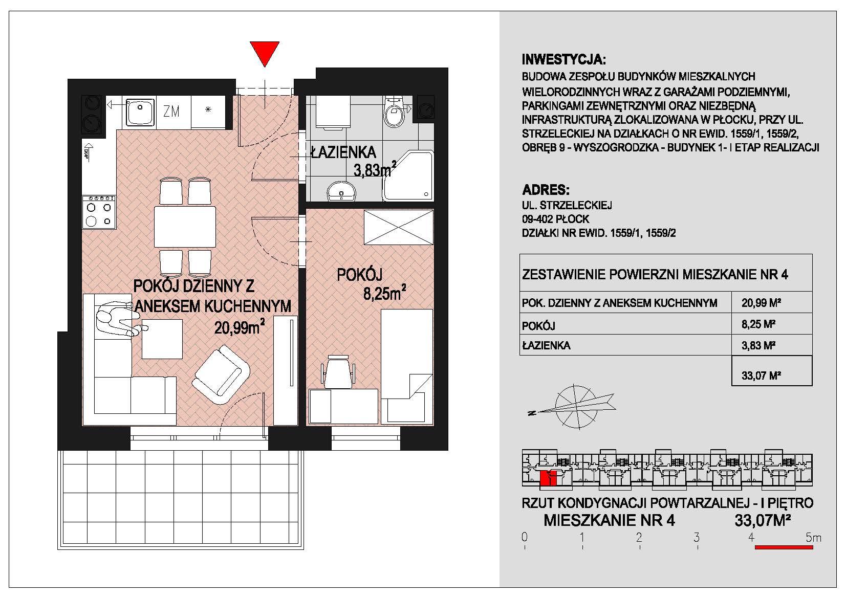 mieszkanie nr 4 PIK Płock
