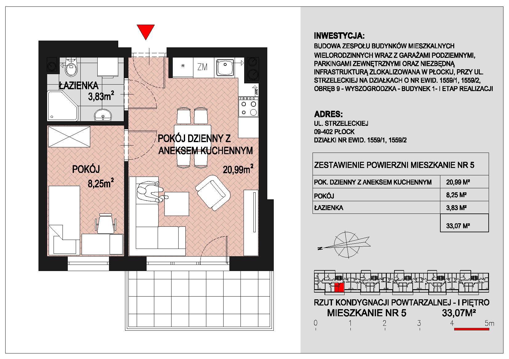 mieszkanie nr 5 PIK Płock